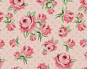Poppie Cotton Dots & Posies Prize Roses Blush DP20401  fabric Pink