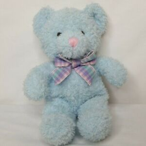 """Russ Sprinkles Teddy Bear Baby Blue Rattle Soft Toy Small Plaid Bow Pastel 10"""""""
