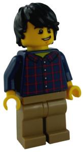 Lego mann mit kariertem Hemd Minifigur City Town twn255 Figur Legofigur Neu