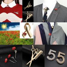 Scissors Comb Brooch Red Poppy Enamel Flower Lapel Pin Broach Badge Banquet Gift