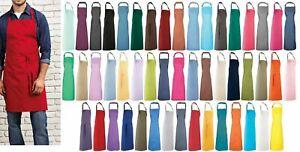 Premier Work Wear Bib Apron Adult Kitchen Restaurant Chef Style Various Colours