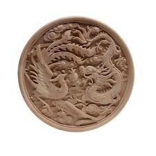 European Decal Dragon Plate Carved Solid Wood Round Flower Wood Carving Home