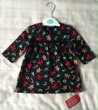 Baby Girls George Black Christmas Print Jersey/flared Swing Party Dress 0-3m