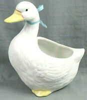 "Vintage HOMCO 7"" Tall White Bisque Porcelain Duck Planter Figurine #8886"