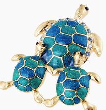 "Honu Sea Turtle Pin Brooch Blue Teal Green Enamel Crystal 2"" Gold tone FREE SHIP"