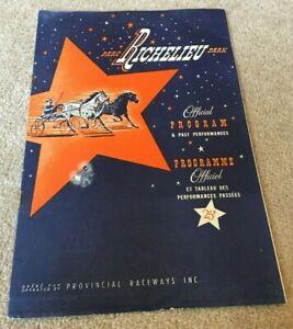 1955 Richelieu Park Harness Racing Program / Programme, Montreal Canada