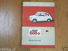 FIAT 600 D HANDLEIDING 1965 OWNERS MANUAL INSTRUCTION BOOK