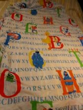 SESAME STREET TWIN FITTED SHEET ALPHABET W ELMO BERT ERNIE BIG BIRD VINTAGE 80'S