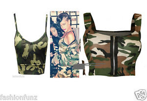 WOMENS CAMOUFLAGE ARMY PRINT CELEB STYLE BRALET STRETCHY FIT CROP BRA TOP 8-14