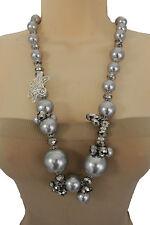 Women Grey Imitation Pearl Beads Long Fashion Necklace Silver Metal Flower Charm