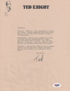 TED KNIGHT Signed Autograph Letter PSA DNA