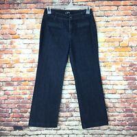 Ann Taylor LOFT Womens Size 8 Petite Curvy Trouser Dark Wash Denim Jeans
