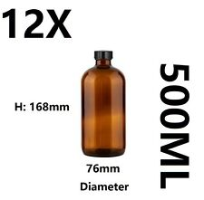12X 500ML Amber Glass Bottles with Caps