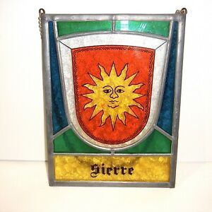 """Vintage Metal Stained Glass Hanging Panel Handcrafted Leaded 5.25""""x7 """"SIERRE"""""""