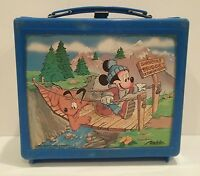 Vintage 80's Walt Disney Mickey Mouse Pluto Aladdin Lunchbox Blue Thermos Minnie