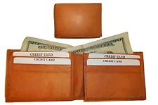 Lot of 2 New Man's Bi fold Leather Wallet 12 Credit Cards 2 IDs 2 Suede lined bn