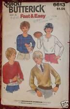 Butterick SEWING Pattern 6613 Boys EASY Tops Sz 7+8+10