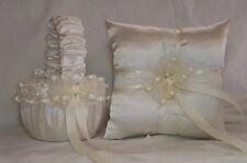 Ivory Cream Satin / Ivory Cream Flower Girl Basket & Ring Bearer Pillow # 2
