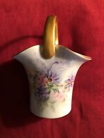 """HAND PAINTED Porcelain Vase Signed By L.B. With Gold Handle And Trim 6""""x5"""""""