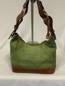 dooney bourke handbags suede green With Brown Leather Shoulder Bag Purse
