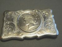 Western Americana Southwestern 1922 Peace Silver Dollar Sterling Silver Buckle
