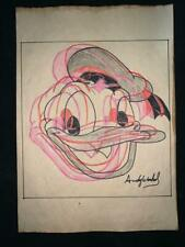 Andy Warhol watercolor drawing on paper signed and stamped hand carved