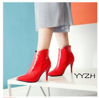 New Women's Patent Leather Pointy Toe Side zip Ankle Boots High Heels Sexy Shoes