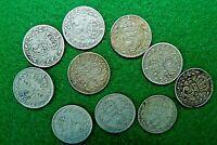 10 x British Silver 3d Threepence 1911 - 1918 Titanic World War I King George V