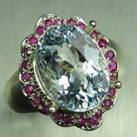 5.15cts Natural light aqua blue Aquamarine 925 Sterling Silver ring
