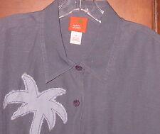 Hearts Of Palm Art To Wear Funky Linen Flax/Rayon Top/Light Jacket Wm's Sz 14