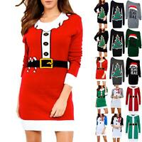 Ladies Womens Christmas Oversized Knitted Elf Costume Baggy Xmas Jumper Dress
