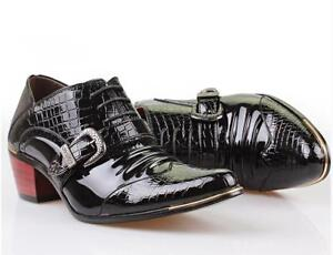 Men's Cuban Heels Patent Leather Buckle Oxfords Pointed Toe Dress Shoes Slip On