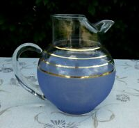 VINTAGE MCM FROSTED  BLUE GLASS PITCHER Gold Bands FREE SHIPPING!