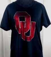 Women's Oklahoma Sooners Rhinestone Football V-neck T-Shirt Tee Bling Lady