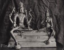 1928 Original INDIA Shiva Parvati Mahadeva Shakti Sculpture Photo By HURLIMANN