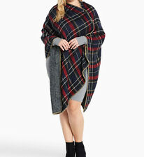 New Torrid One Size OS Reversible Wooden Button Plaid Wrap Cape Poncho
