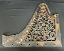 Antique Painted Cast Iron Piano Harp Plate Floral Art Wall Ornate Musical Decor