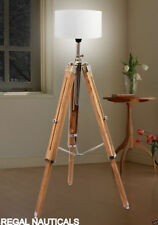 Teak Wood Vintage Floor Lamp Wooden Tripod Stand Marine Nautical Without Shade