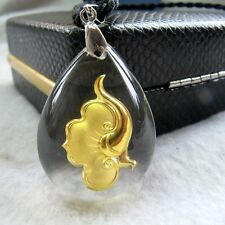 Certificate 999 24K Yellow Gold & Crystal Blessing Ruyi Pendant