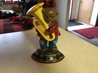 "Vintage Cast Iron Bear Playing the Violin America Doorstop 7"""