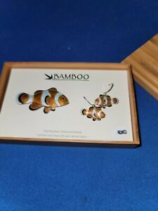 Sterling Silver Cloisonne Enamel Fish Earrings And Broach In Bamboo Box By...