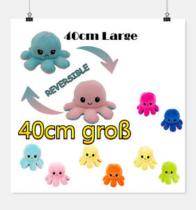 Groß Wende-Oktopus Octopus Plüschtier Doppelseitiges Kuscheltier Tintenfisch DE