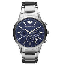 NEW EMPORIO ARMANI AR2448 MENS STEEL CHRONOGRAPH WATCH - 2 YEARS WARRANTY