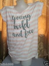 V31:New Gen-X Blue Cotton Statement Tops for Women-Large-Peach