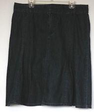 Liz Claiborne Dark Blue Denim 100% Cotton Below-the-Knee Godet Skirt 16
