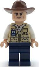 Lego New Jurassic World Vet Hat Fedora Scowling Minifigure Man Figure