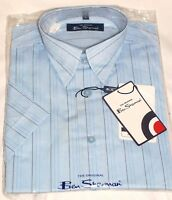 BEN SHERMAN Men's Short Sleeved Casual Shirt Size 1, 2, 3  Stripe or Check  BNWT