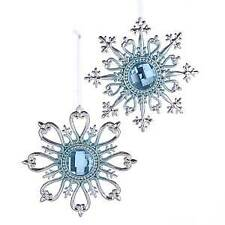 Set of 2 Silver and Blue Snowflake With Gemstone Ornaments w