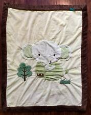 Tiddliwinks Baby Blanket Elephant Green Brown Jungle Safari Soft Plush 30 x 39