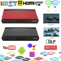 4K HD 1080P DLP LED Android 3D Home Theater Projector Dual WI-FI BT HDMI AV USB